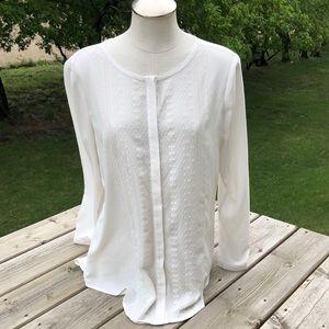 RW & Co cream coloured sheer blouse